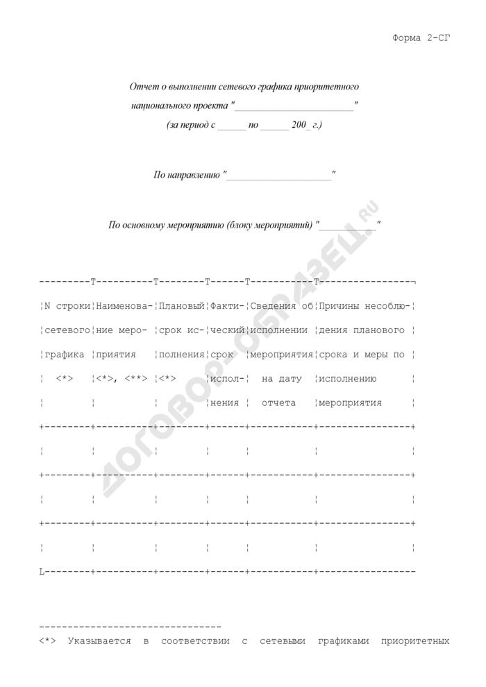 Отчет о выполнении сетевого графика приоритетного национального проекта. Форма N 2-СГ. Страница 1