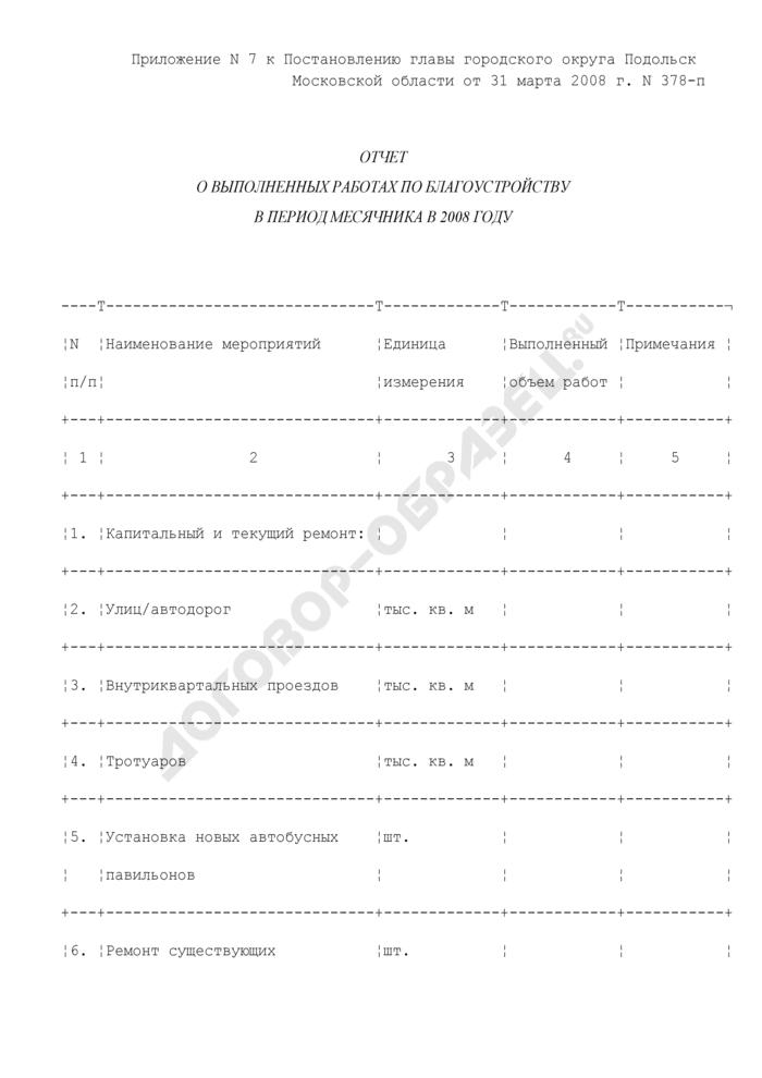 Отчет о выполненных работах по благоустройству в период месячника в 2008 году в г. Подольск Московской области. Страница 1