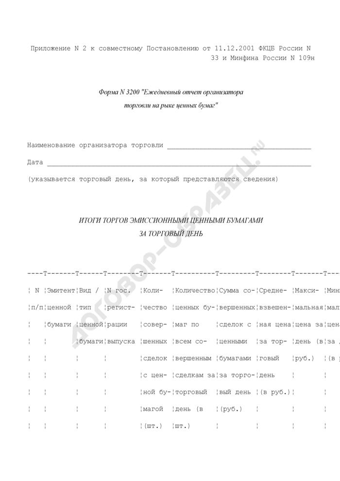 Ежедневный отчет организатора торговли на рынке ценных бумаг. Форма N 3200 (отчетность профессиональных участников рынка ценных бумаг). Страница 1