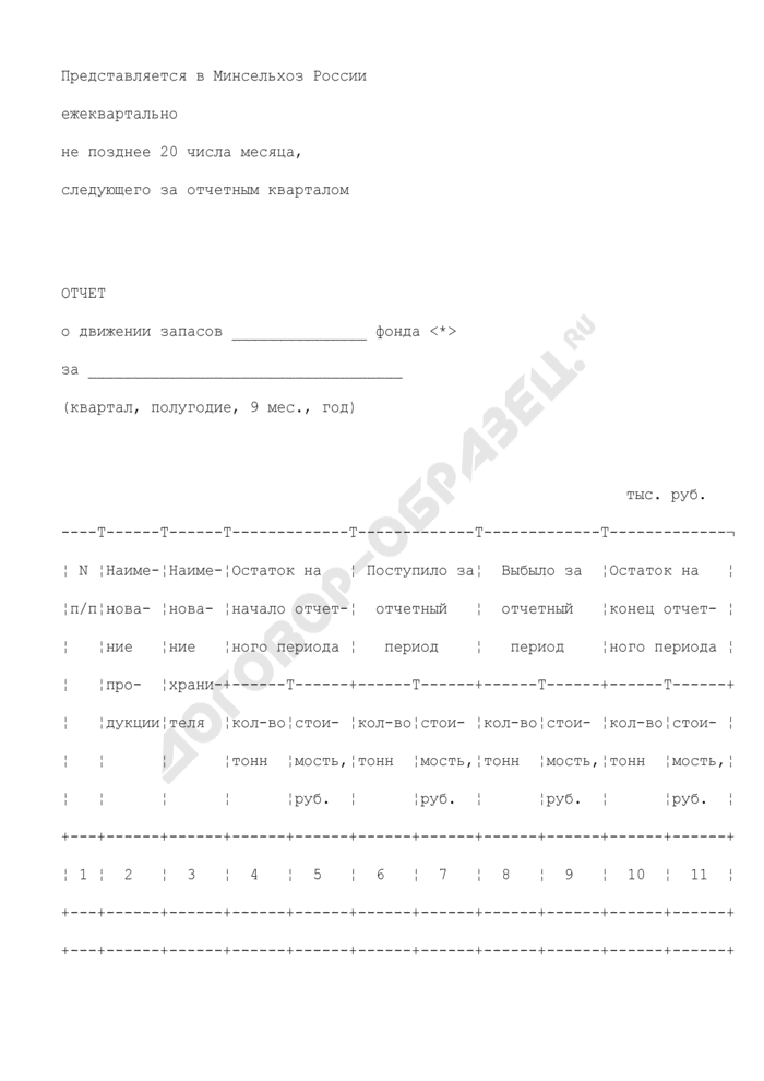 Отчет о движении запасов. Страница 1