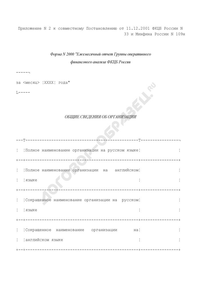 Ежемесячный отчет Группы оперативного финансового анализа ФКЦБ России. Форма N 2000 (отчетность профессиональных участников рынка ценных бумаг). Страница 1