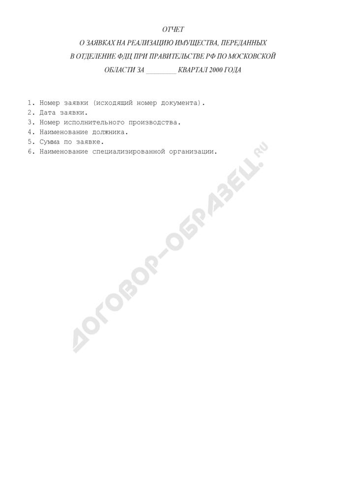 Отчет о заявках на реализацию арестованного или конфискованного имущества, переданных в Отделение ФДЦ при Правительстве РФ по Московской области. Страница 1