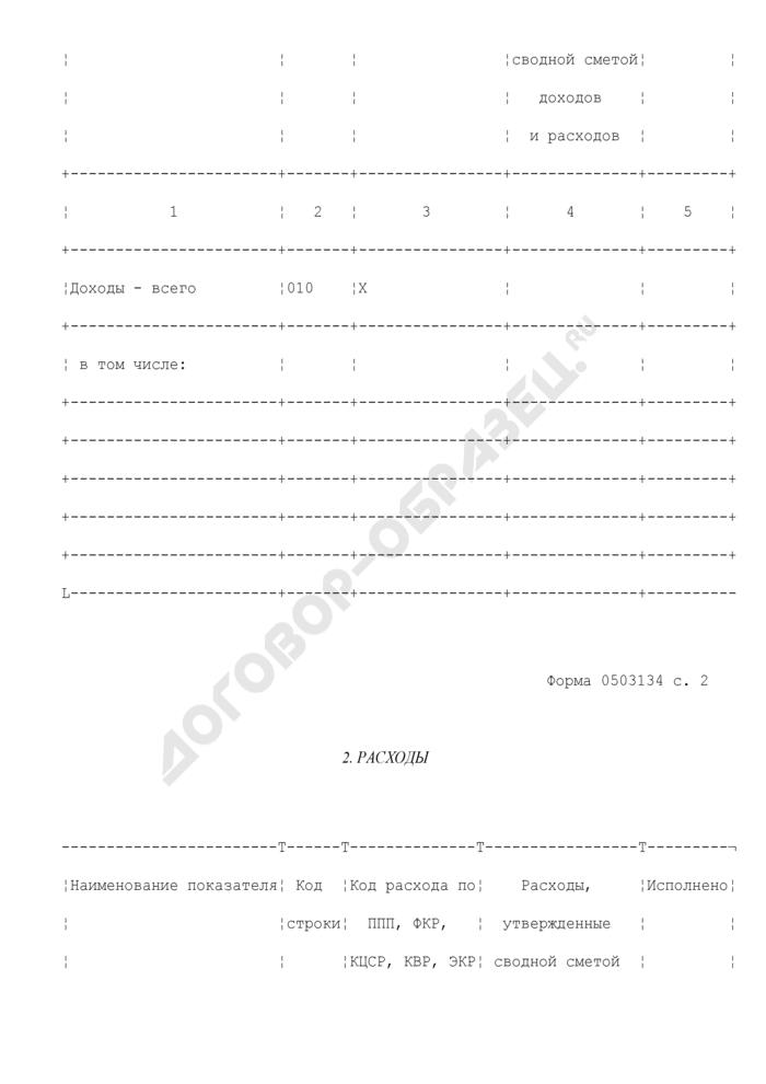 Отчет о кассовом поступлении и выбытии средств от приносящей доход деятельности. Страница 2
