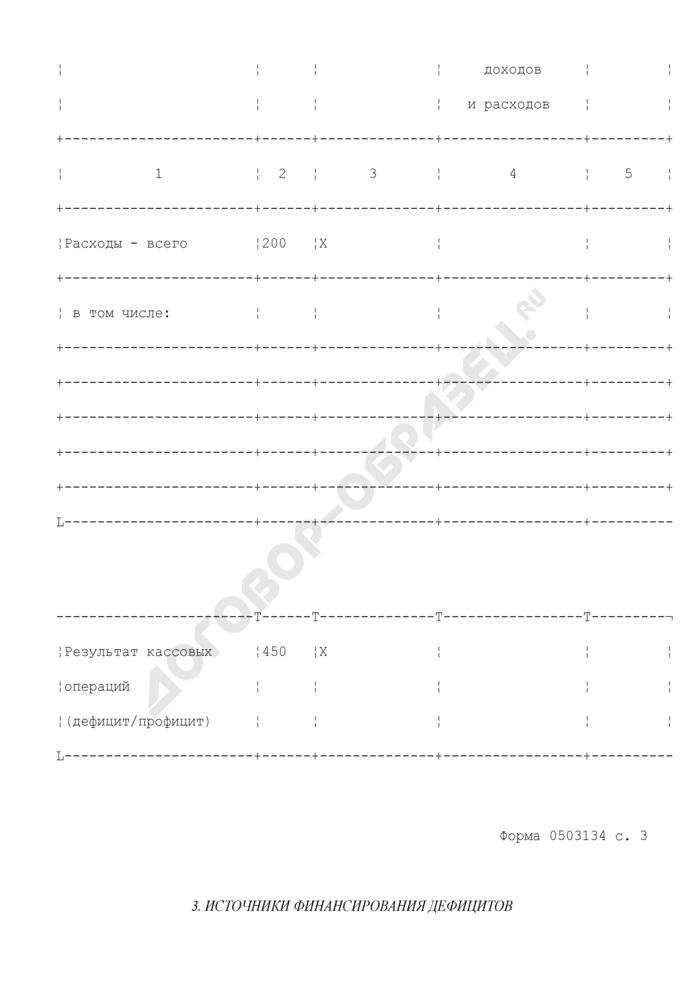 Отчет о кассовом поступлении и выбытии средств от приносящей доход деятельности. Страница 3