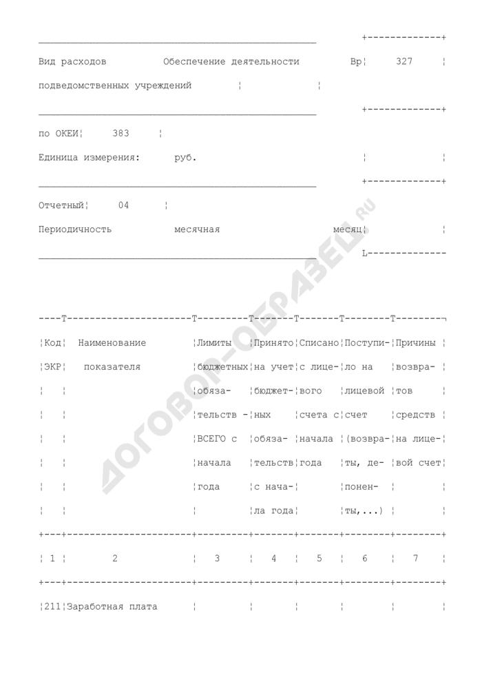 Отчет о кассовых расходах. Форма N КР001. Страница 2