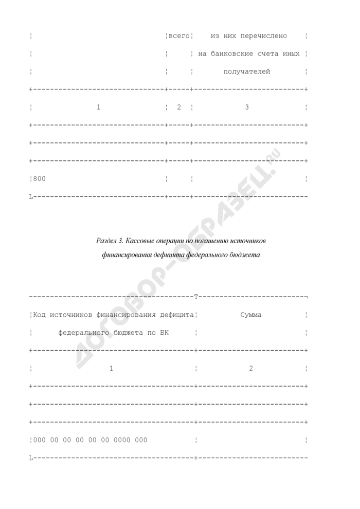 Отчет о кассовых выбытиях средств федерального бюджета и кассовых операциях по погашению источников финансирования дефицита федерального бюджета. Страница 3