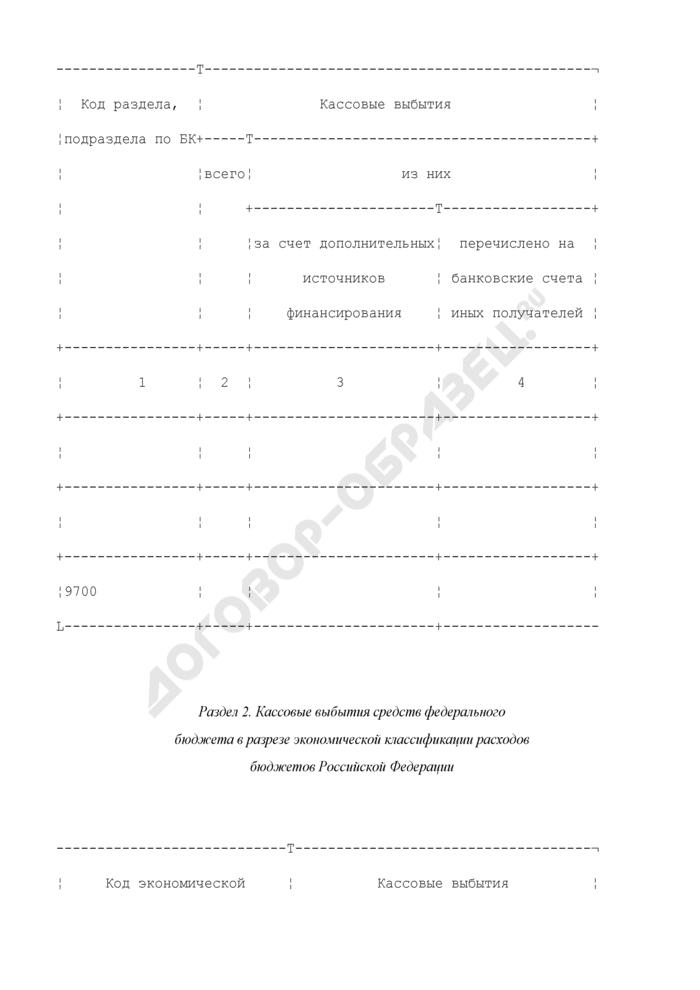 Отчет о кассовых выбытиях средств федерального бюджета и кассовых операциях по погашению источников внутреннего финансирования дефицита федерального бюджета. Страница 2