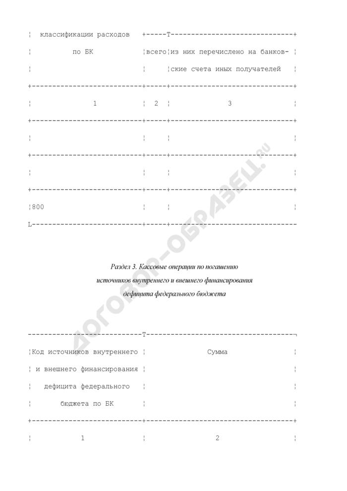 Отчет о кассовых выбытиях средств федерального бюджета и кассовых операциях по погашению источников внутреннего финансирования дефицита федерального бюджета. Страница 3