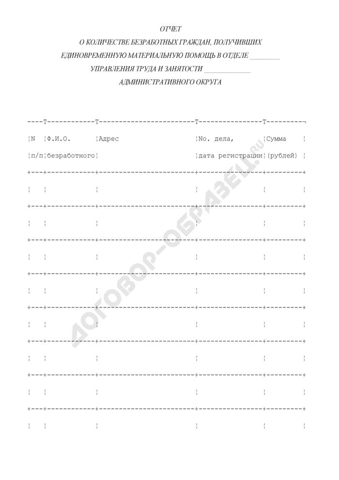Отчет о количестве безработных граждан, получивших единовременную материальную помощь в отделе Управления труда и занятости административного округа. Страница 1