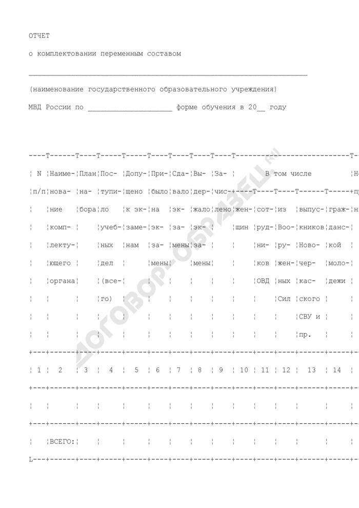 Отчет о комплектовании переменным составом образовательных учреждений МВД России. Страница 1
