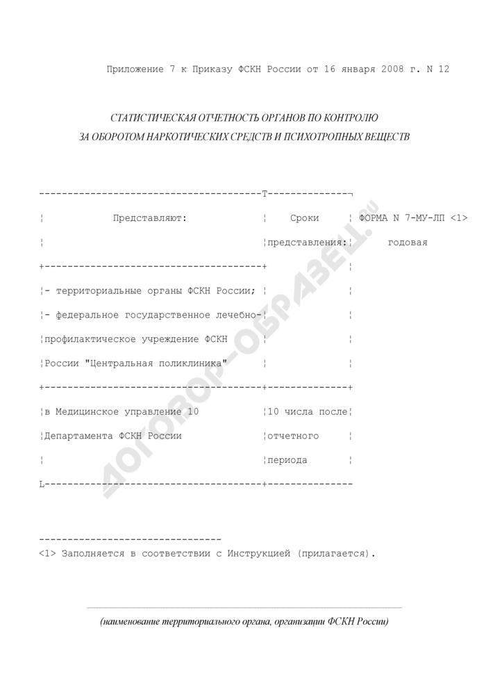Отчет о медицинском обслуживании лиц, подвергшихся воздействию радиации в связи с аварией на Чернобыльской АЭС и подлежащих включению в Российский государственный медико-дозиметрический регистр. Форма N 7-МУ-ЛП. Страница 1