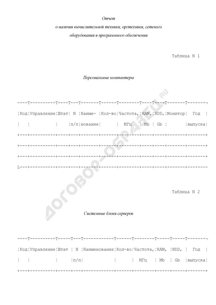 Отчет о наличии вычислительной техники, оргтехники, сетевого оборудования и программного обеспечения. Форма N 12 (годовая). Страница 1