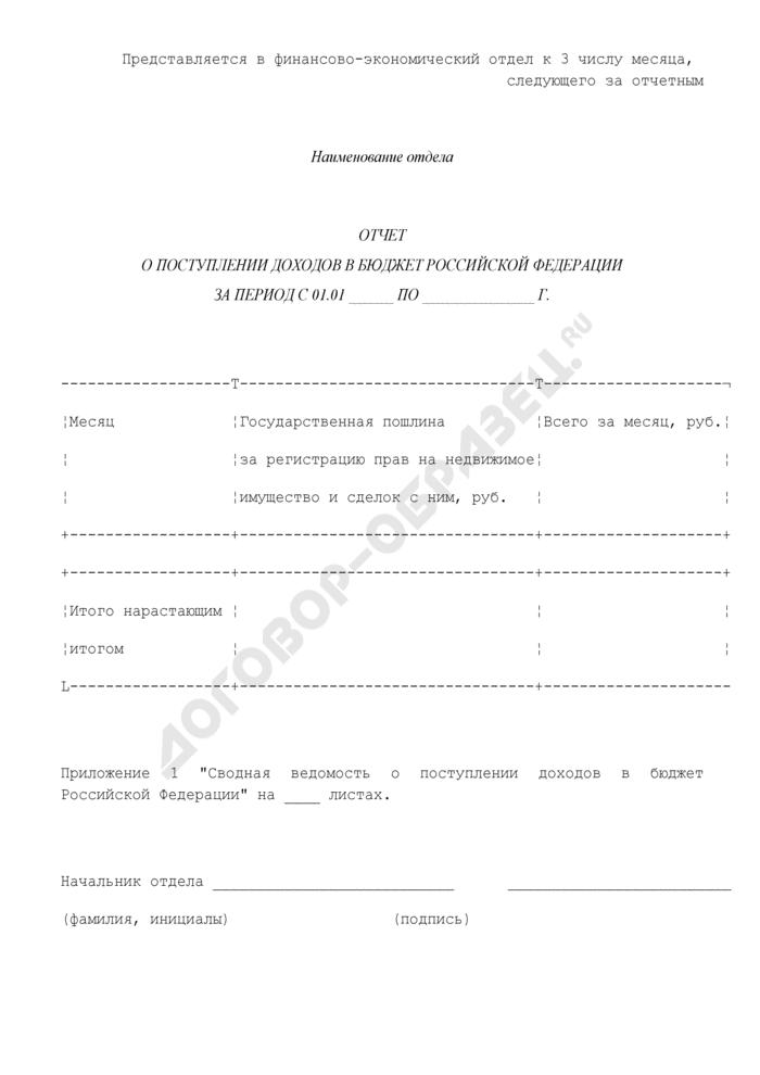 Отчет о поступлении доходов в бюджет Российской Федерации от деятельности Управления Федеральной регистрационной службы по Московской области за регистрацию прав на недвижимое имущество и сделок с ним. Страница 1