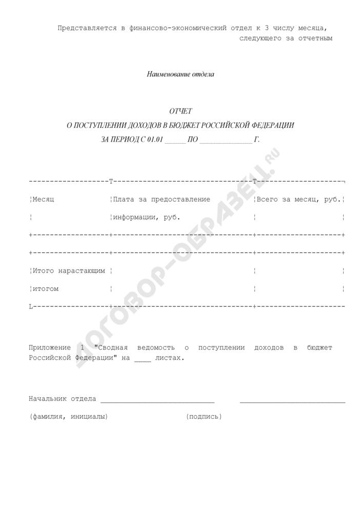 Отчет о поступлении доходов в бюджет Российской Федерации от деятельности Управления Федеральной регистрационной службы по Московской области. Страница 1