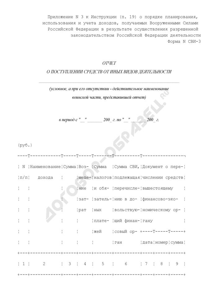 Отчет о поступлении средств от иных видов деятельности воинской части. Форма N СВИ-3. Страница 1