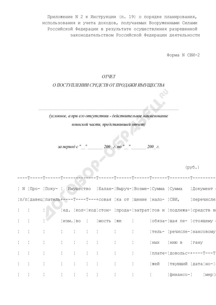 Отчет о поступлении средств от продажи имущества воинской части. Форма N СВИ-2. Страница 1