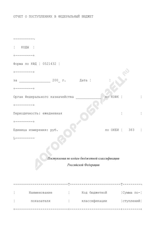 Отчет о поступлениях в федеральный бюджет. Страница 1