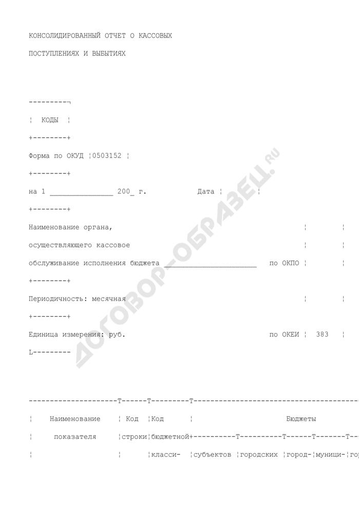 Консолидированный отчет о кассовых поступлениях и выбытиях. Страница 1
