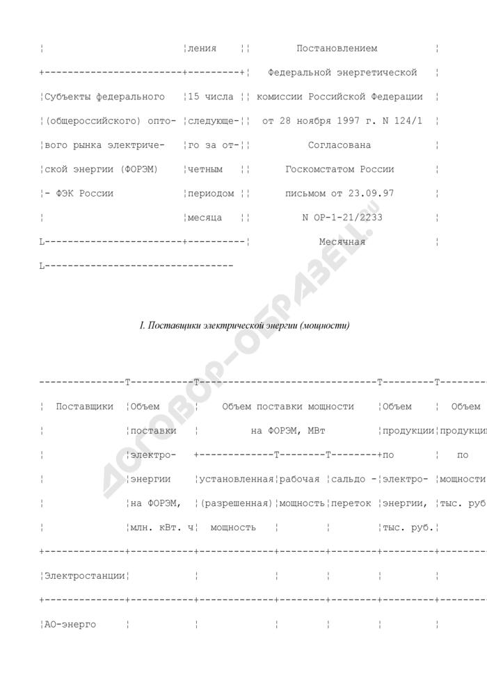 Отчет о применении двухставочных тарифов на ФОРЭМ. Форма N 2-ФЭК. Страница 2