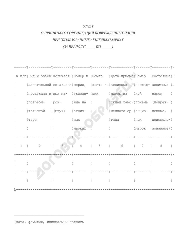 Отчет о принятых от организаций поврежденных и/или неиспользованных акцизных Марках. Страница 1