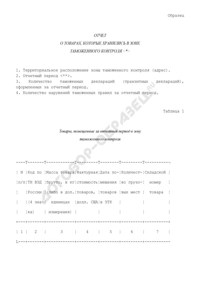 Образец отчета о товарах, которые хранились в зоне таможенного контроля. Страница 1