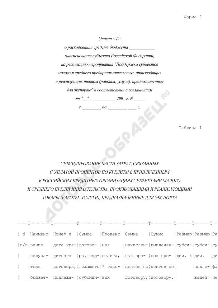 """Отчет о расходовании средств бюджета субъекта Российской Федерации на реализацию мероприятия """"Поддержка субъектов малого и среднего предпринимательства, производящих и реализующих товары (работы, услуги), предназначенные для экспорта"""". Форма N 2. Страница 1"""