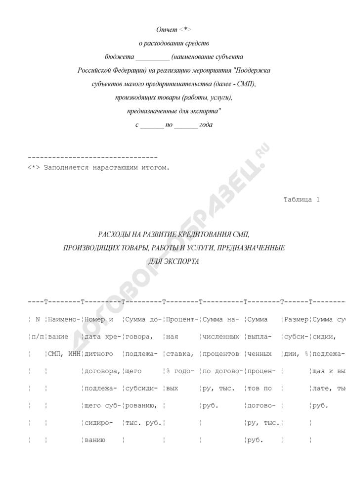 """Отчет о расходовании средств бюджета субъекта Российской Федерации на реализацию мероприятия """"Поддержка субъектов малого предпринимательства, производящих товары (работы, услуги), предназначенные для экспорта"""". Форма N 2. Страница 1"""