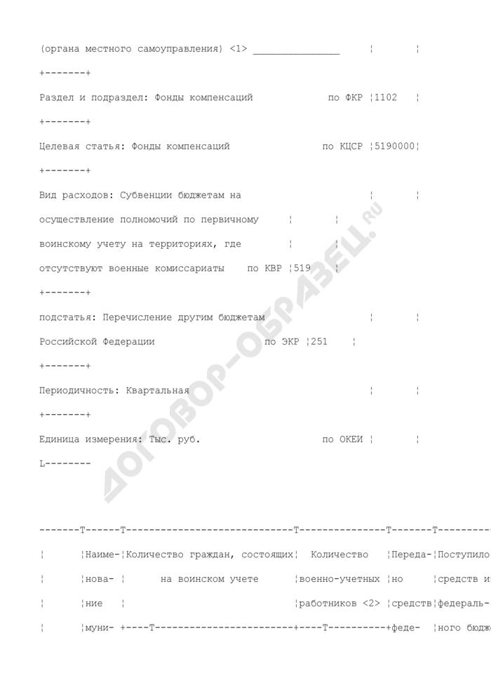 Отчет о расходовании субвенций, предоставленных из федерального бюджета бюджетам субъектов Российской Федерации (органов местного самоуправления) на выполнение полномочий по осуществлению первичного воинского учета на территориях, где отсутствуют военные комиссариаты. Страница 2