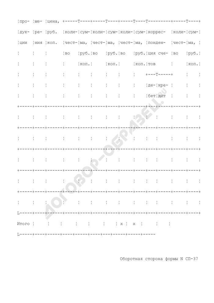 Отчет о реализации продукции. Типовая межотраслевая форма N СП-37. Страница 2