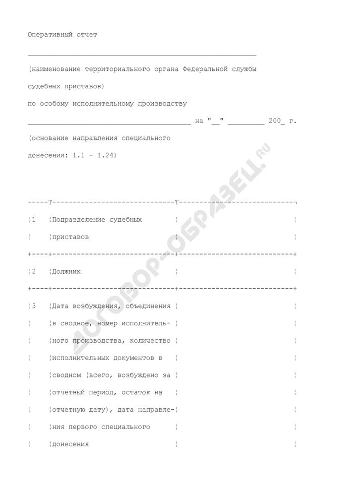 Оперативный отчет территориального органа Федеральной службы судебных приставов по особому исполнительному производству. Страница 1