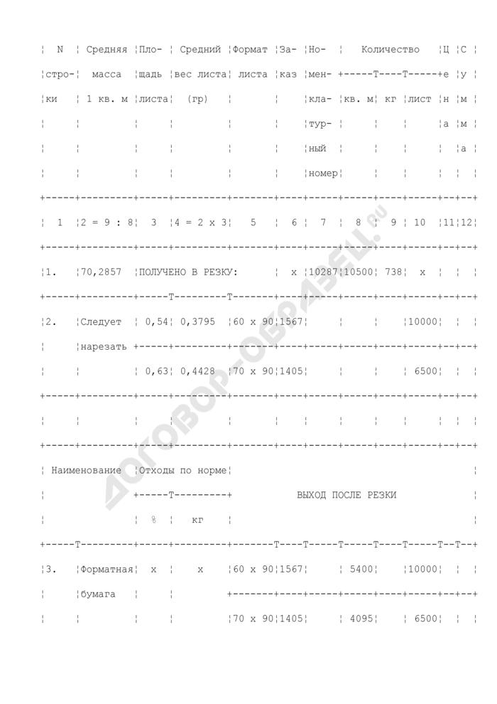 Отчет о резке рулонной бумаги и облагораживании отходов. Форма N 5-б. Страница 2