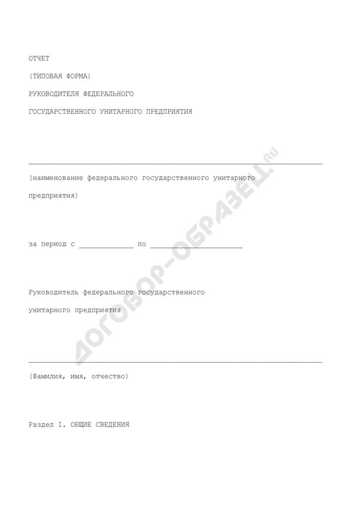 Отчет руководителя федерального государственного унитарного предприятия (типовая форма). Страница 1