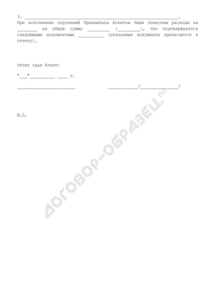 Отчет агента об исполнении агентского договора (приложение к агентскому договору на осуществление всего комплекса действий, необходимых для подготовки реализации товара). Страница 3