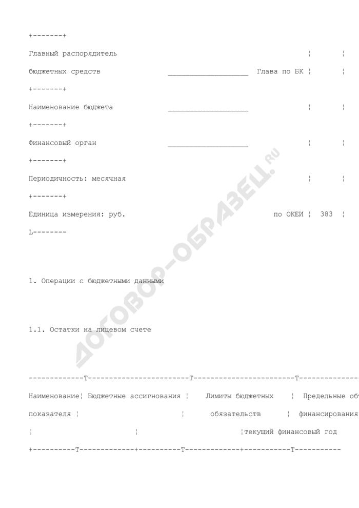 Отчет о состоянии лицевого счета получателя бюджетных средств. Страница 2