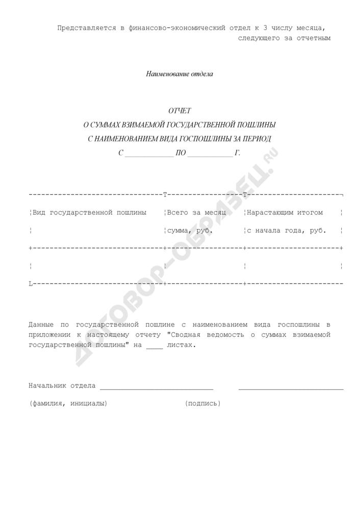 Отчет о суммах взимаемой государственной пошлины с наименованием вида госпошлины от деятельности Управления Федеральной регистрационной службы по Московской области. Страница 1