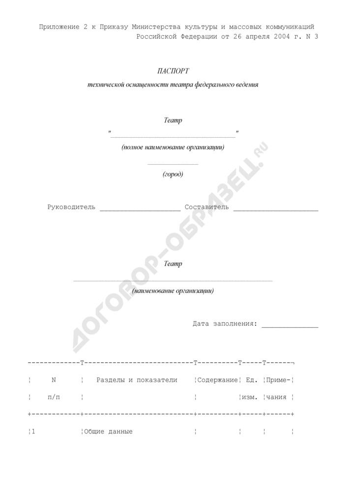 Паспорт технической оснащенности театра федерального ведения. Страница 1