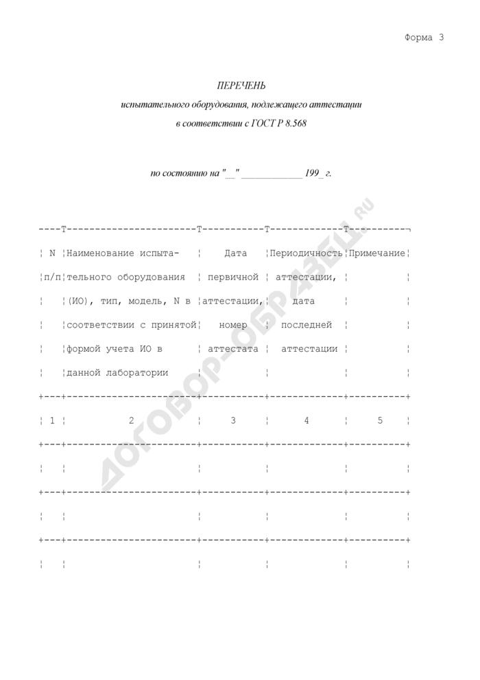 Формы представления исходных материалов о состоянии измерений в лаборатории. Перечень испытательного оборудования, подлежащего аттестации в соответствии с ГОСТ Р 8.568. Форма N 3. Страница 1