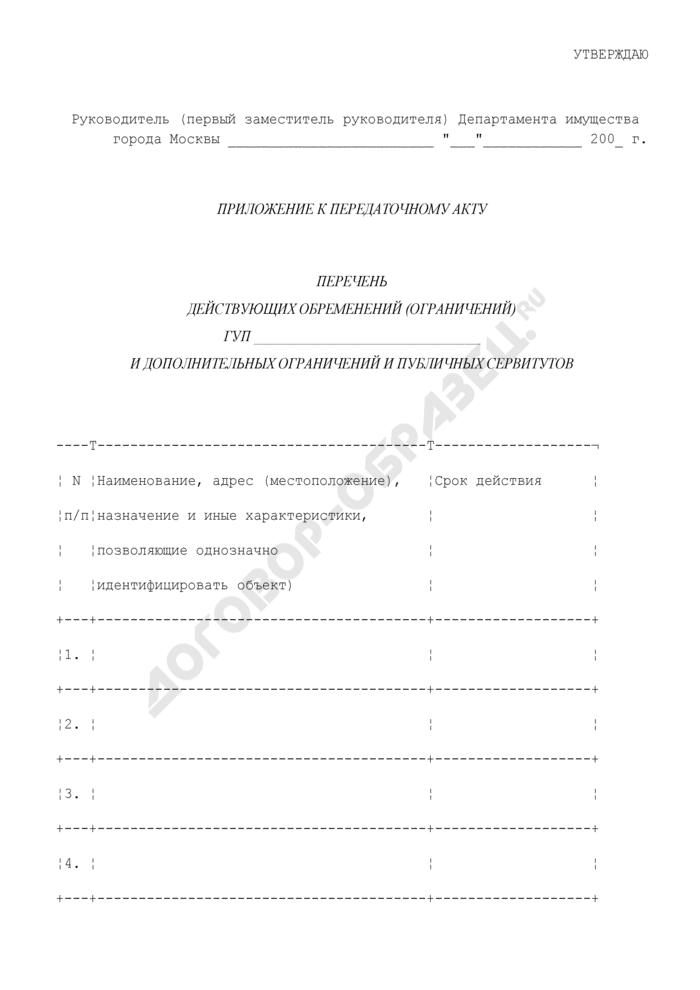 Перечень действующих обременений (ограничений) государственных унитарных предприятий и дополнительных ограничений и публичных сервитутов (приложение к передаточному акту). Страница 1
