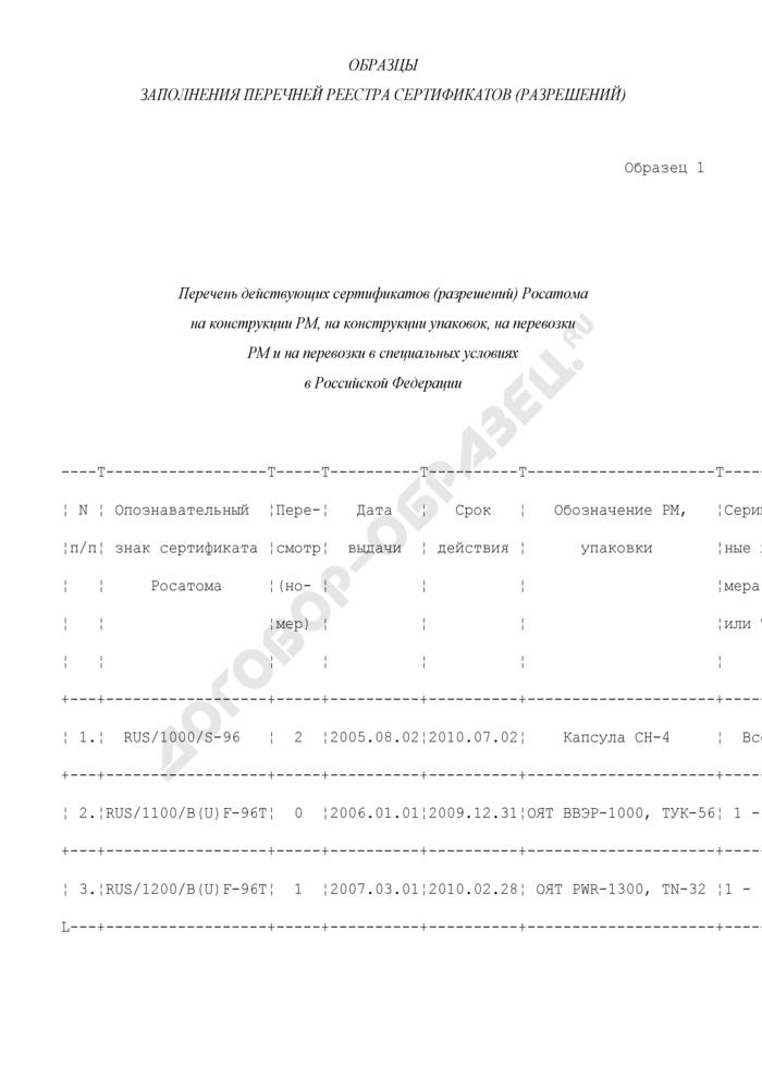 Образцы заполнения перечней реестра сертификатов (разрешений) на перевозку радиоактивных материалов и ведение их реестра. Страница 1