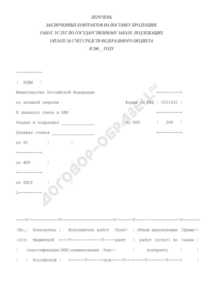 Перечень заключенных контрактов на поставку продукции, работ, услуг по государственному заказу, подлежащих оплате за счет средств федерального бюджета. Страница 1
