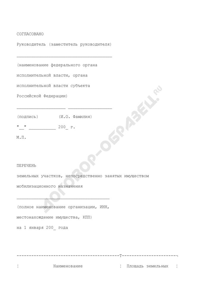 Перечень земельных участков, непосредственно занятых имуществом мобилизационного назначения. Форма N 2. Страница 1