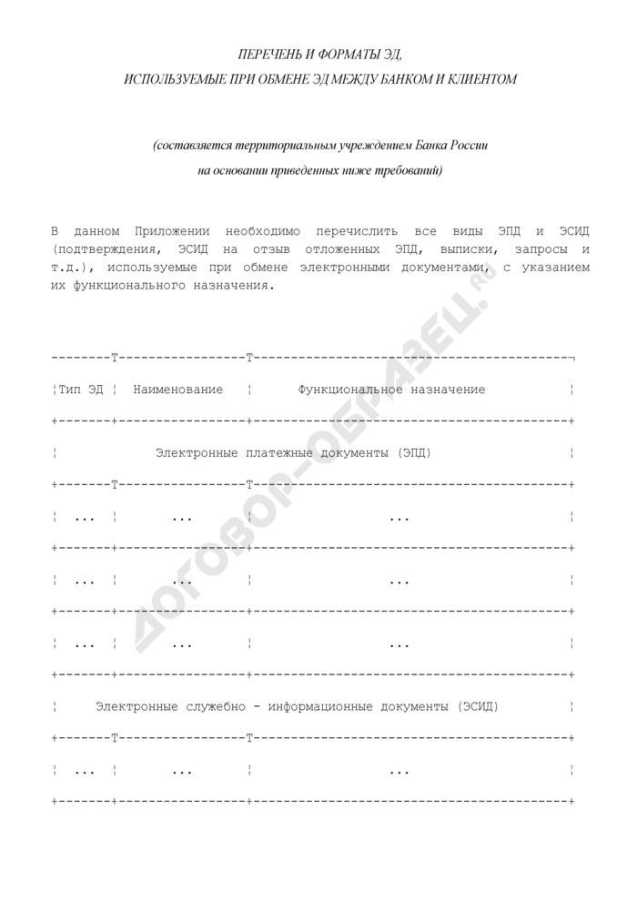 Перечень и форматы ЭД, используемые при обмене ЭД между банком и клиентом (приложение к договору об обмене электронными документами при осуществлении расчетов через расчетную сеть Банка России). Страница 1