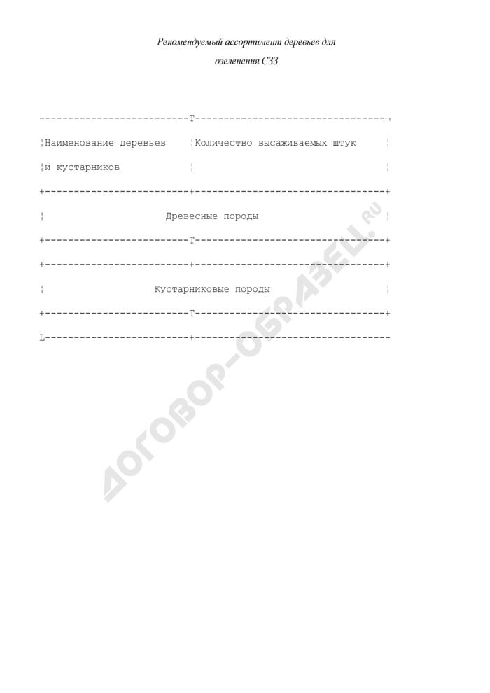Перечень и формы табличных материалов в составе проектов организации санитарно-защитных зон. Рекомендуемый ассортимент деревьев для озеленения санитарно-защитных зон. Страница 1