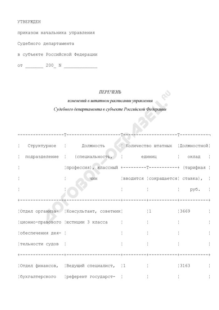 Перечень изменений в штатном расписании управления Судебного департамента в субъекте Российской Федерации. Страница 1