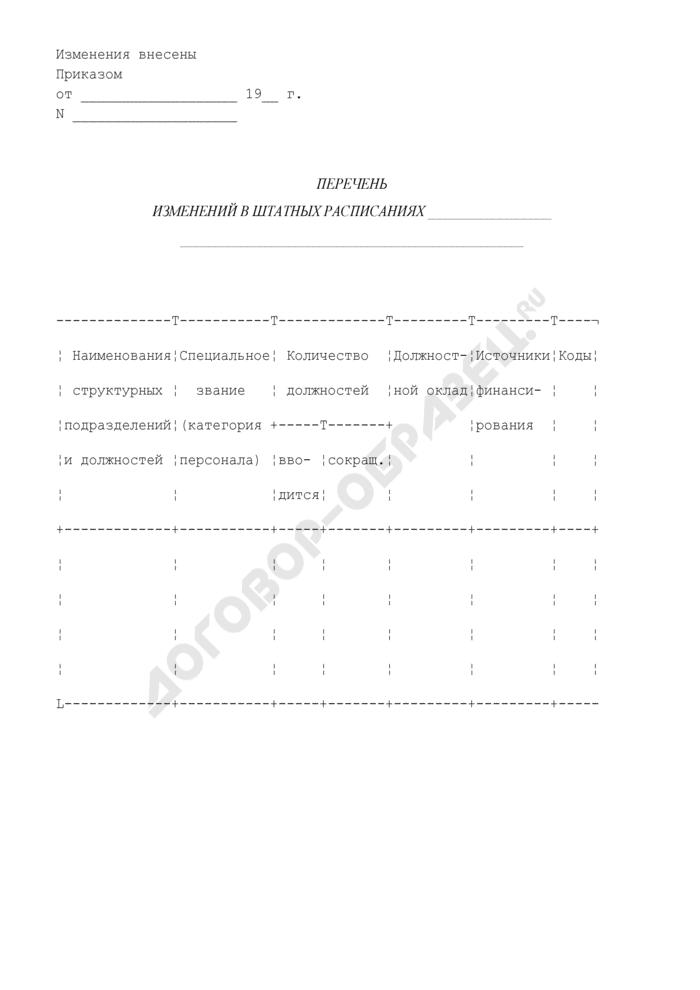 Перечень изменений в штатных расписаниях органов внутренних дел Российской Федерации. Страница 1