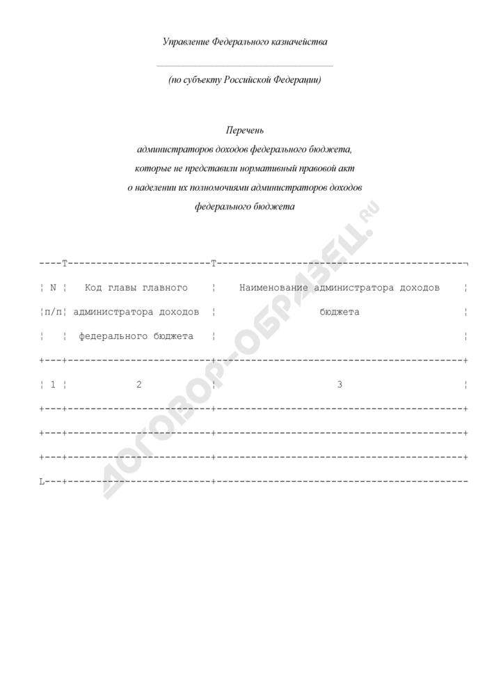 Перечень администраторов доходов федерального бюджета, которые не представили нормативный правовой акт о наделении их полномочиями администраторов доходов федерального бюджета по субъекту Российской Федерации. Страница 1