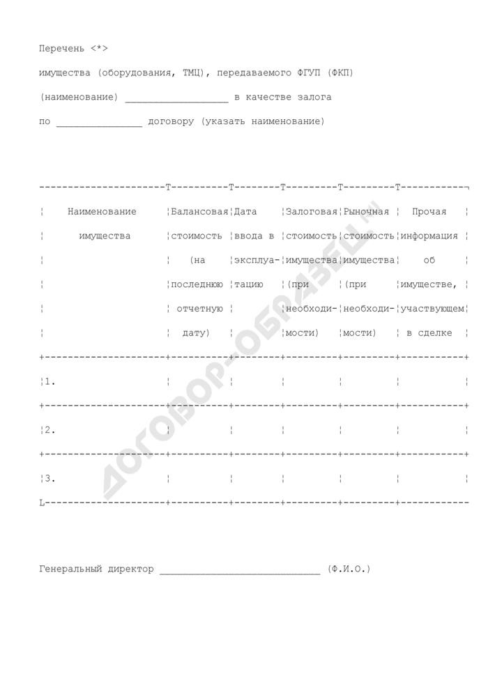 Перечень имущества (оборудования, ТМЦ), передаваемого предприятием в качестве залога по договору, являющегося предметом сделки (рекомендуемая форма). Страница 1