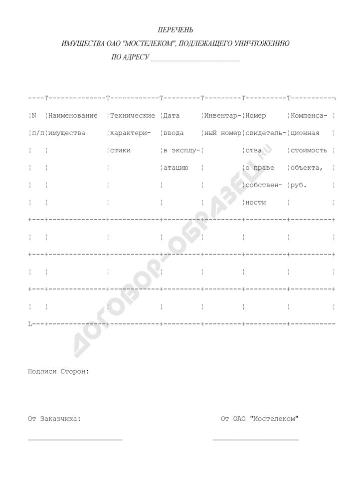 """Перечень имущества ОАО """"Мостелеком"""", подлежащего уничтожению. Страница 1"""