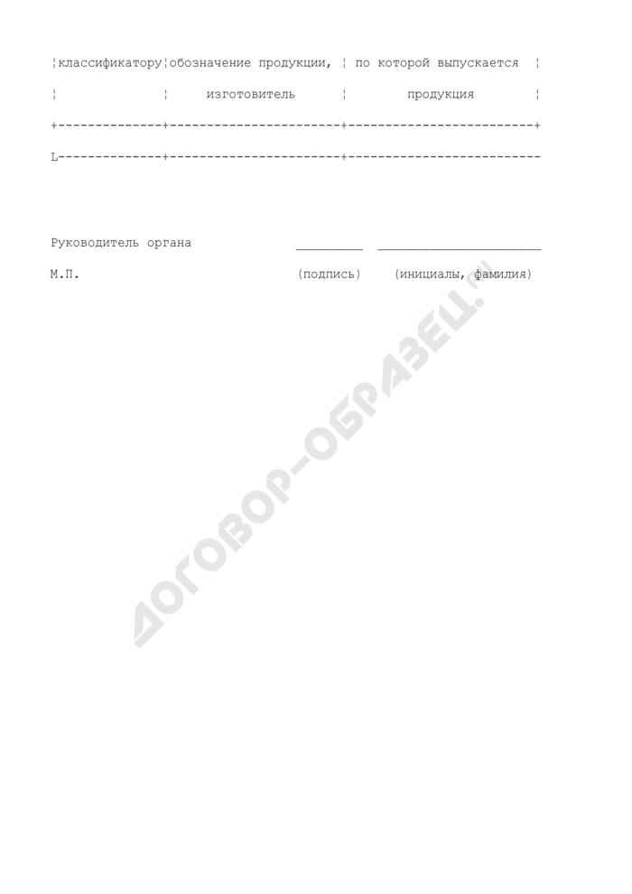 Перечень конкретной продукции, на которую распространяется действие сертификата соответствия (приложение к сертификату соответствия на продукцию в области промышленной, экологической безопасности, безопасности в энергетике и строительстве). Страница 2
