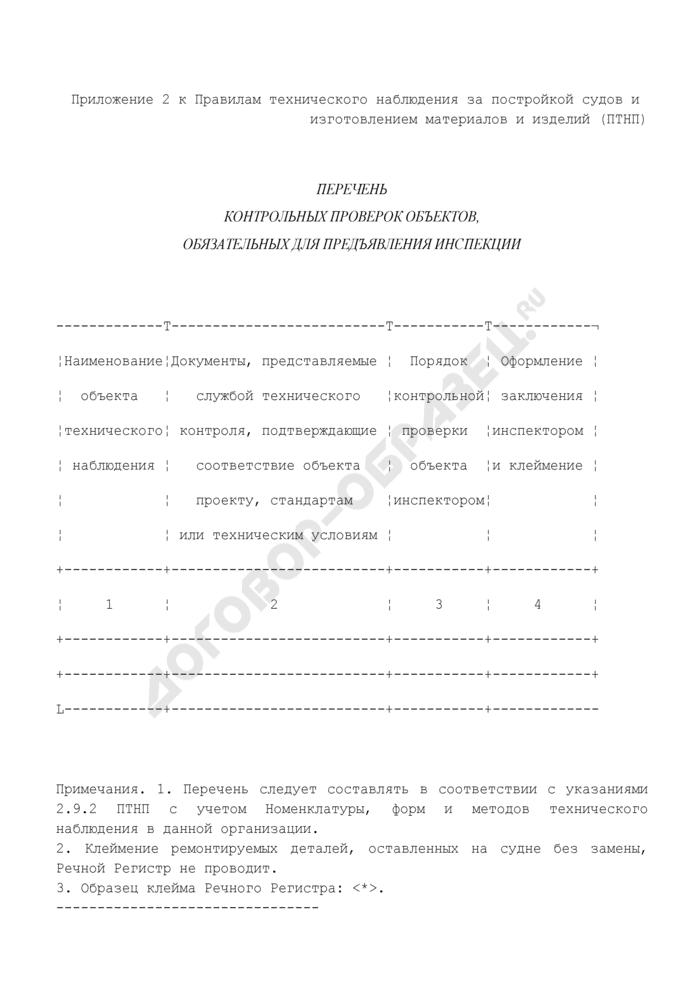 Перечень контрольных проверок объектов технического наблюдения за постройкой судов и изготовлением материалов и изделий, обязательных для предъявления инспекции. Страница 1